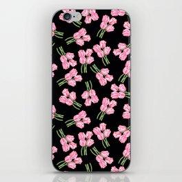 Tulips on black iPhone Skin