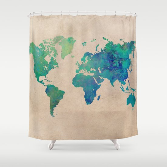 ... World Map 95 Green Worldmap Map Shower Curtain ...