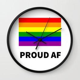 PROUD AF - Rainbow LGBT flag Wall Clock