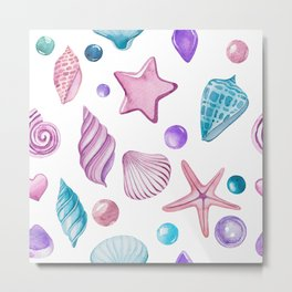 Colorful seashells pattern Metal Print
