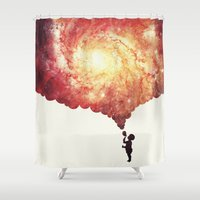 physics Shower Curtains featuring The universe in a soap-bubble! (Awesome Space / Nebula / Galaxy Negative Space Artwork) by badbugs_art