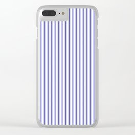 Navy Blue on White Mattress Ticking Stripes Clear iPhone Case