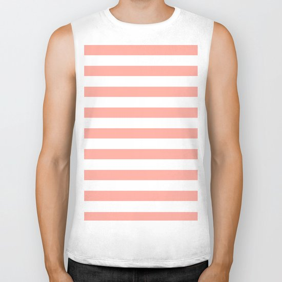 Simply Striped in Salmon Pink and White Biker Tank