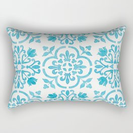 Watercolor Moroccan Tiles - Turquoise Blue Rectangular Pillow