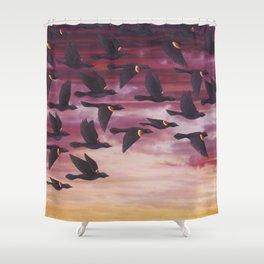 red-winged blackbird flock in flight Shower Curtain