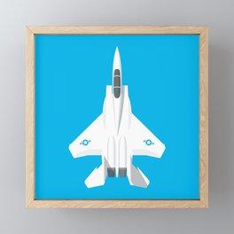 F-15 Eagle Supersonic Jet Aircraft - Cyan Framed Mini Art Print
