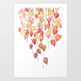 orange red crimson glory vine leaf watercolor Art Print