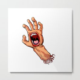 hand with mouth cartoon Metal Print
