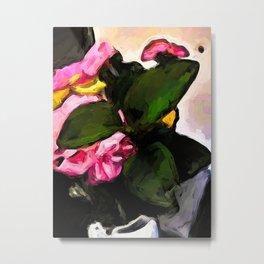 Flowers of Pink behind Green Leaves Metal Print