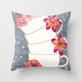 Floral Coffee Cups Throw Pillow