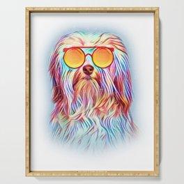 Havanese Neon Dog Sunglasses Serving Tray