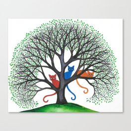 Iowa Whimsical Cats in Tree Canvas Print