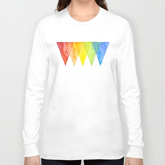 Geometric Watercolor Shapes Triangles Pattern Long Sleeve T-shirt