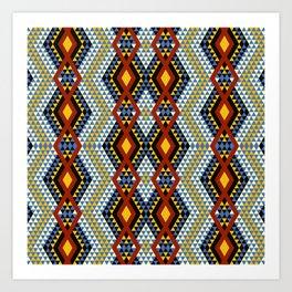 Aztec rhombus triangles red yellow blue Art Print