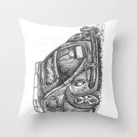 volkswagen Throw Pillows featuring Volkswagen Beetle by Akkattoos