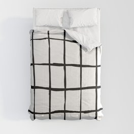 Black white hand drawn geometric abstract random stripes Comforters