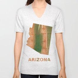 Arizona map outline Peru green streaked wash drawing Unisex V-Neck