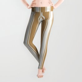 Cream and brown nautical geometric vertical lines pattern for home decoration Leggings