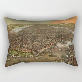 Bird's-eye view of New York c. 1873 Rectangular Pillow