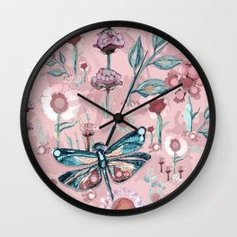 Rose Gold Dragonfly Garden | Pastel Wall Clock