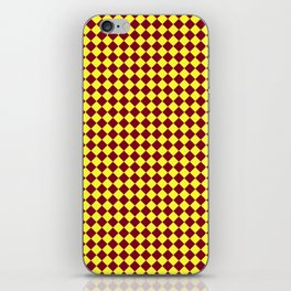Electric Yellow and Burgundy Red Diamonds iPhone Skin