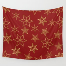 Snowflakes Red And Gold Wall Tapestry