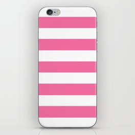 Cyclamen - solid color - white stripes pattern iPhone Skin
