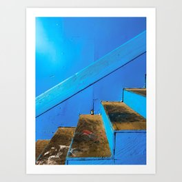 blue and brown old wood stairs with blue wall background Art Print