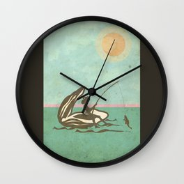 Boy fishing from Oyster Shell Wall Clock