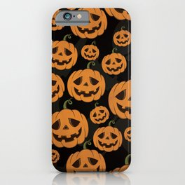 Jack O Lantern Halloween Pattern on Black iPhone Case