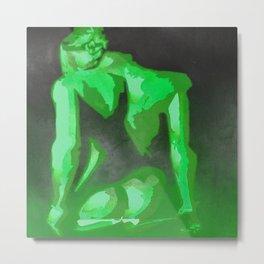 Beautiful Young Woman Wearing Plaits and Panties (Green) Metal Print