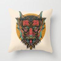 demon Throw Pillows featuring Demon by MIRKOW GASTOW
