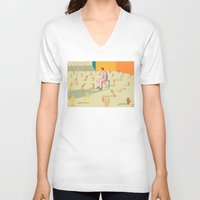 hands V-neck T-shirts featuring Hands by Nahal