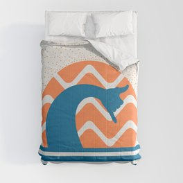Hang Loose Wave // Sun Surfer Shaka Beach Retro Graphic Design Horizontal Daze Waves Comforters