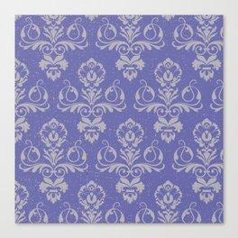 Blue Vintage Damask Canvas Print