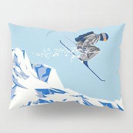 Airborn Skier Flying Down the Ski Slopes Pillow Sham