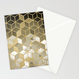 Shades Of Gold Cubes Pattern Stationery Cards