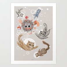 Cat Art Space Art Print