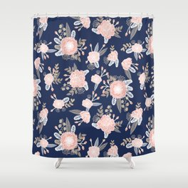 Floral bouquet pastel navy pink florals painted painted metallic pattern basic minimal pattern print Shower Curtain