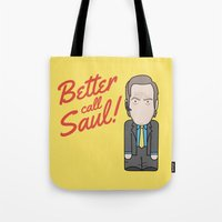 better call saul Tote Bags featuring Better Call Saul by Big Purple Glasses