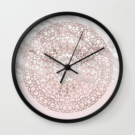 Rose gold mandala - blush pink & marble Wall Clock