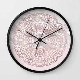 Rose gold mandala - blush pink & marble Wall Clock