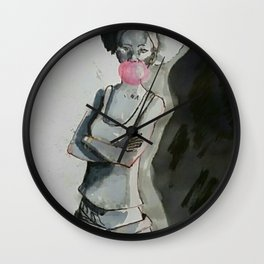 Inked girl#1 Wall Clock