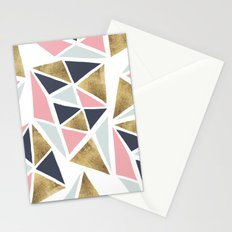 Modern geometrical pink navy blue gold triangles pattern Stationery Cards