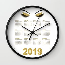 Lashes  with gold glitter 2019 calendar illustration Wall Clock