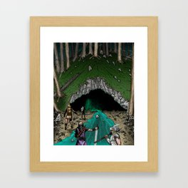 Party Approaching Cave Framed Art Print