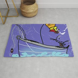 fishingboat deep sea life Rug