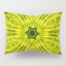 Bold yellow kaleidoscope on deep forest green Pillow Sham