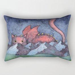 Dragon Cat Watercolor Rectangular Pillow