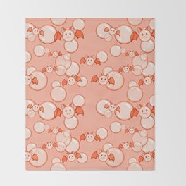 Bubbles and Bats Peach Throw Blanket
